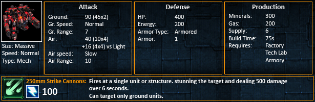Starcraft 2 Thors Statistics SC2 Thor unit stats