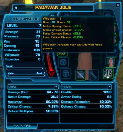 Jedi Consular Stats