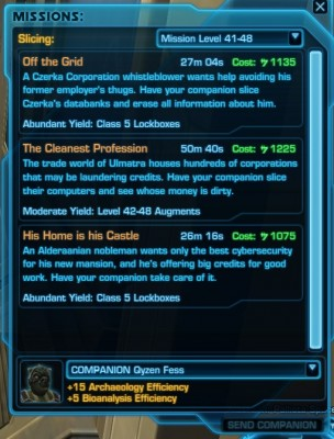 SWTOR Slicing Missions