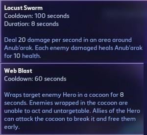 Anub'arak Heroic spells: Locust Swarm and Web Blast