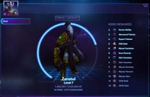 Hero level up rewards