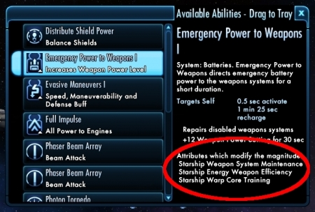Emergency power to weapons