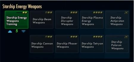 Starship energy weapons